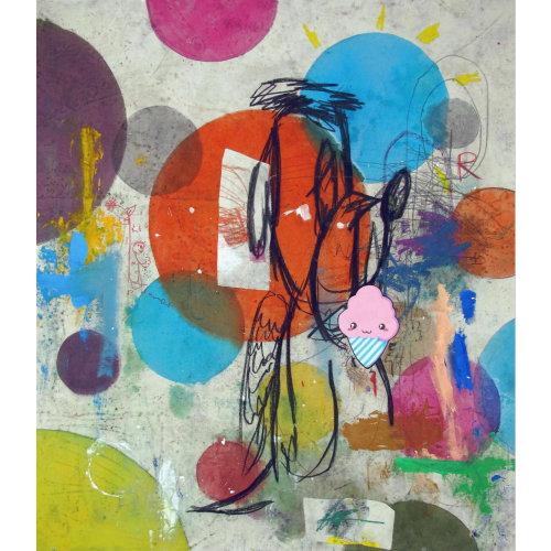 Fizz  2019 170 x 140 cm Acrylic, oil, charcoal, graphite, mixed media, biro pen, spray paint on canvas