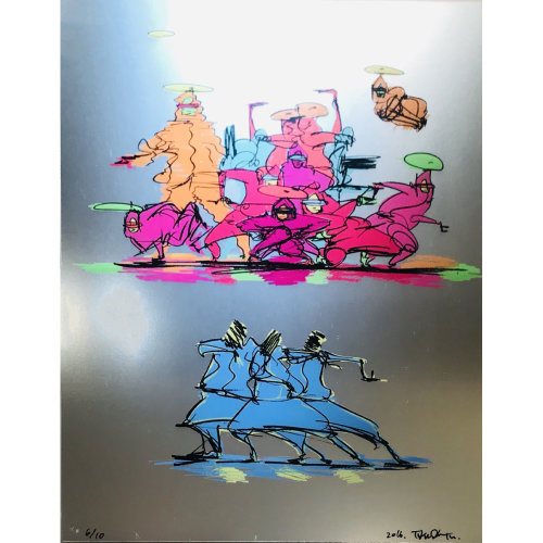 Taku Obata B-Boy Abstract and Slid Lithographf、Offmetal Silver 60 x 47 cm edition 10 2016
