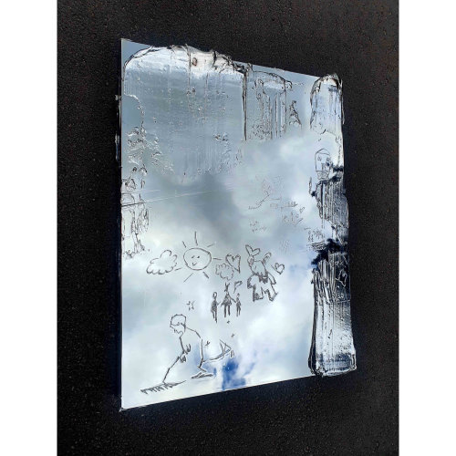 We Real   Writing on the artwork: We real, stay a child, mom Igi  Colour:Silver 81 x 61 x 7cm  Sterling Silver, Aluminium, Polyester