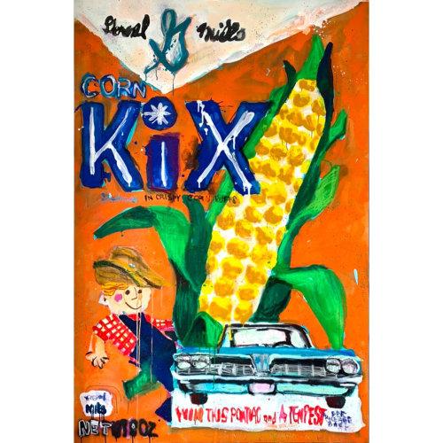 Big Cereal No.16  2021, Acrylic, Aerosol, oilpastel, gesso, on canvas, H194 x W130.3 cm