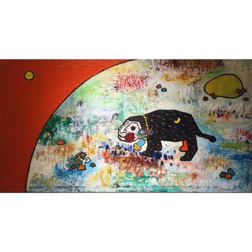 A Black Leopard Looking For The Moon 2014 60 x 120 cm Oil on Canvas
