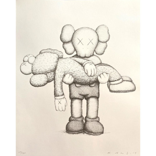 KAWS  KAWS LIMITED EDITION ART BOOK WITH SCREENPRINT 2019  2019 Screenprint on Arches Aquarelle 300gsm paper, Limited Edition art Book Edition of 750