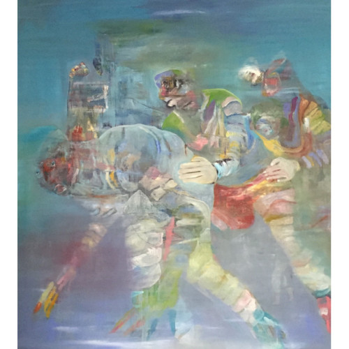 Body School Rite Sport Ritual 2016 200 x 160 cm Oil painting and caseine on canvas
