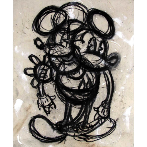 Taipei Mickey  2019 102 x 82 cm Charcoal on 15 ounce natural duck cotton canvas