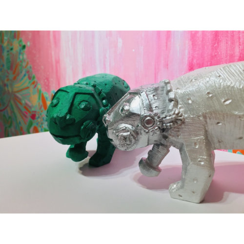 Rainbow Leopard Green and Silver Gin Huang Gallery exclusive 2020 W22 x H10 x D8 cm Acrylic on poly
