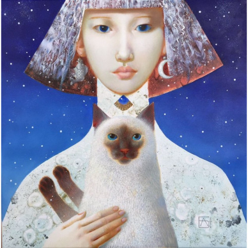 Girl with Cat 2016 45 cm x 45 cm Oil on Canvas