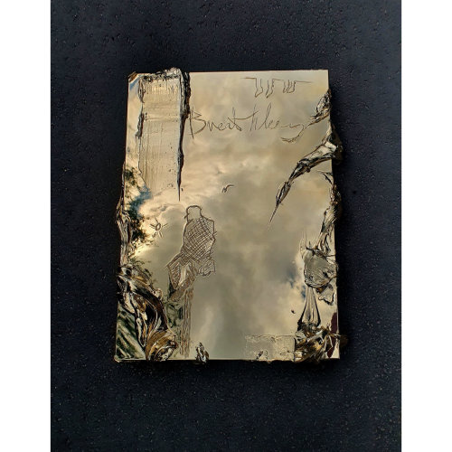Breathless   Writing on the artwork: - Breathless moment  Colour: Gold 81 x 61 x 7cm  Sterling Silver, Aluminium, Polyester