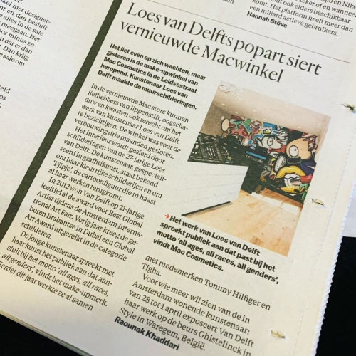 Hetparool reports that the artist cooperated with the M.A.C. Cosmetics.  There are  two large-scale creations by artists in 2 floors M.A.C. Cosmetics Flagship store Amsterdam.