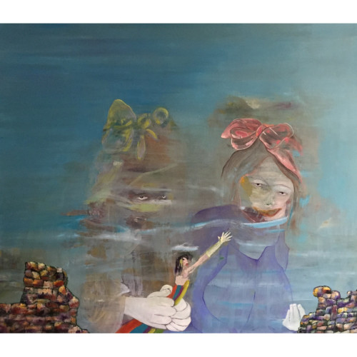 Audrey and July 2016 180 x 200 cm Oil painting and caseine on canvas