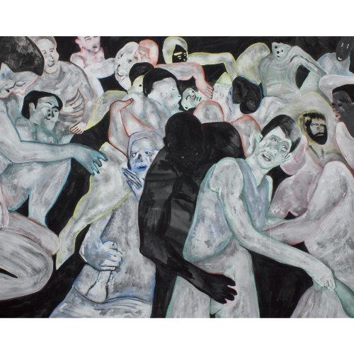 Fete accompagnee de debordements  2015 160 x 200 cm Huile sur toile et caseine
