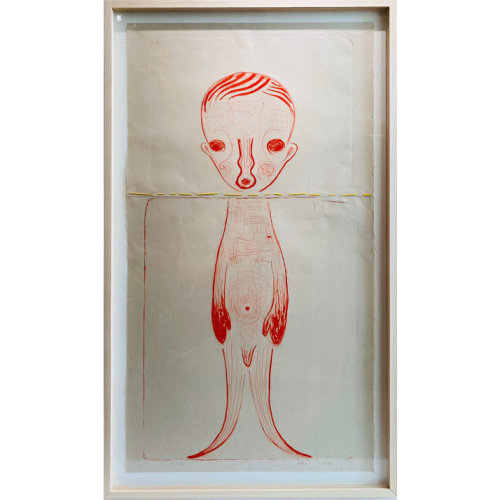 Untitled 23  2018 92 x 45.5 cm  Lithograph, embroidery, Japanese paper Edition of 36