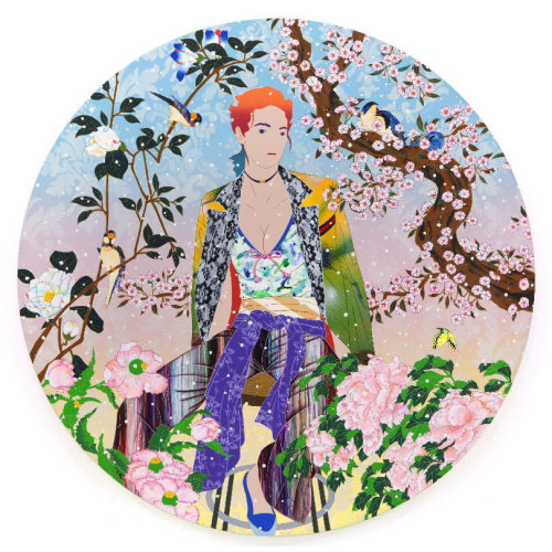 TOMOKAZU MATSUYAMA  Jaded Sunshine  2019 73 cm diameter  Mixed media screen print with pearlescent Edition of 75