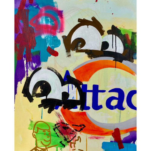 One's Eyes  (Attack)  2021  Acrylic, Aerosol, Oil, Oilstick on Canvas(No Gesso) H91 x  W72.7 cm