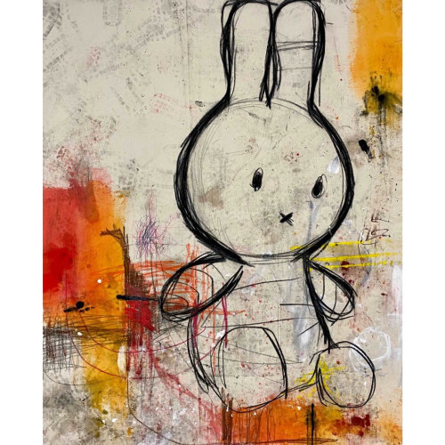 Miffy  2020 170 x 140 cm Dye, oil, acrylic and charcoal on canvas