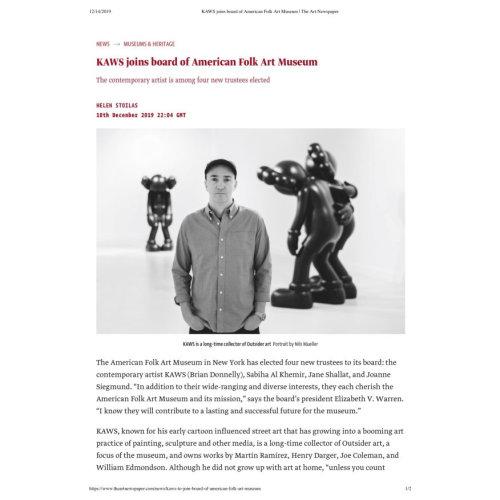 KAWS joins board of American Folk Art Museum