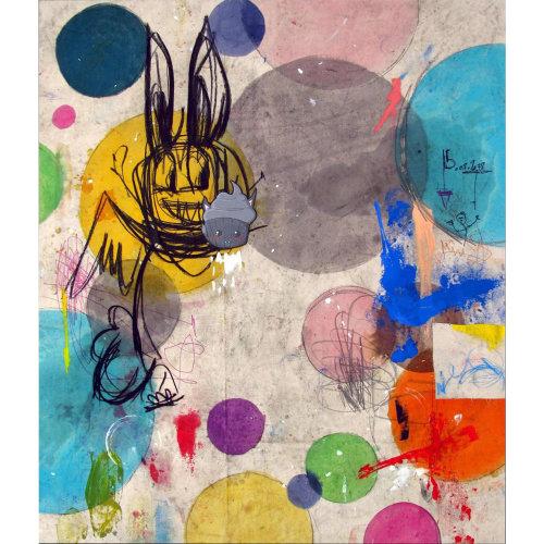 The Godmother  2019 170 x 140 cm Acrylic, oil, charcoal, graphite, mixed media, biro pen, spray paint on canvas