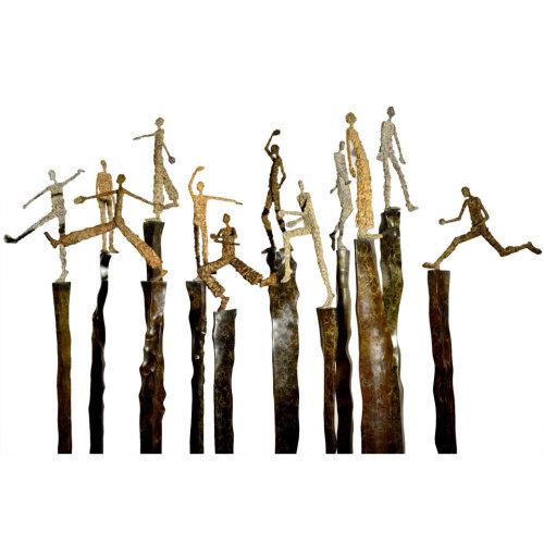 Theatre of joy   H165 to H195.5 cm (set with 12 pics) 2014 Bronze
