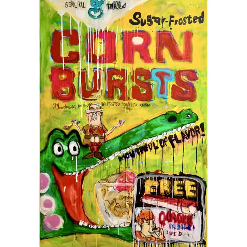Big Cereal No.7  2021 H194 x W130.3 cm Acrylic, aerosol, oilpastel, gesso on canvas