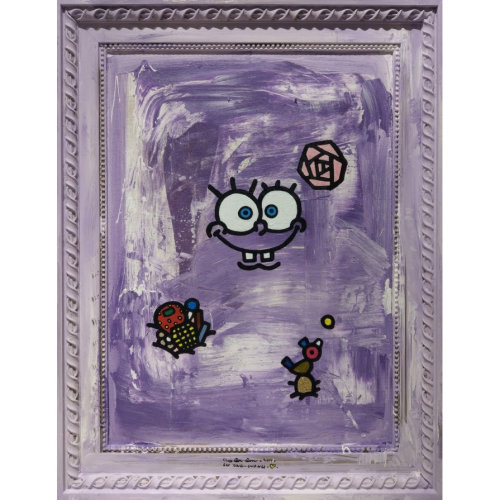 SpongeBob having a golden egg 2019 75 x 58.5 cm Acrylic and silver foil with ready-made frame