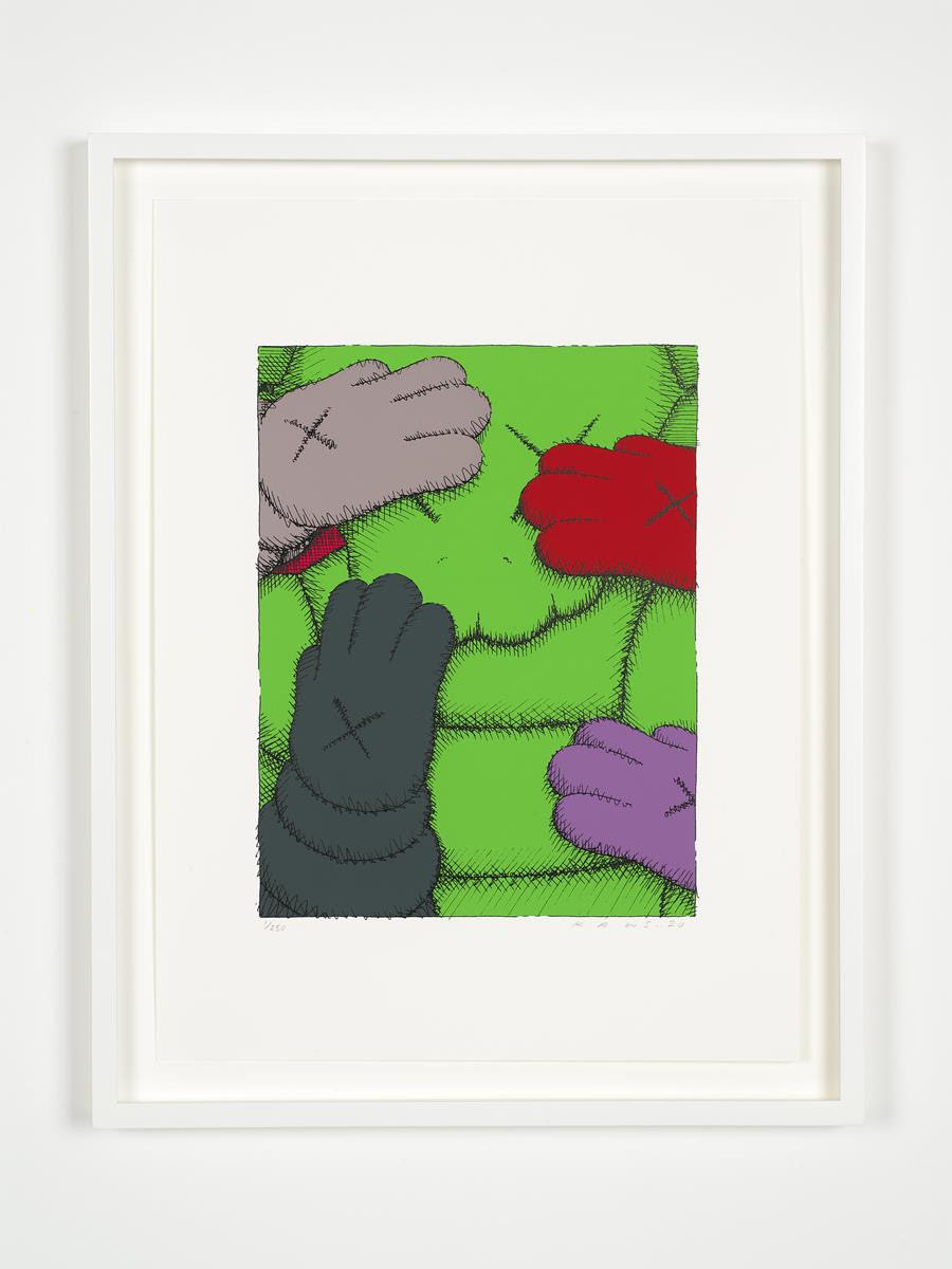 KAWS URGE202010 prints plus a colophon in a clamshell portfolio box.Screenprints on Saunders Waterford 425gm HP hi-white.Each print: 17 x 12.75 inches. (43.18 x 32.38 cm) Signed and numbered Edition of 250 + 50AP.